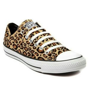Converse All Star Low Top Leopard Print Sneakers.